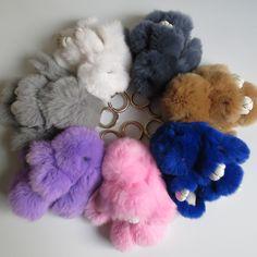 2017 8 Color 14cm Fluffy Bunny Keychain Real Rabbit Fur Pompon Key Chain for Cars Trinket Women Handbag Keyrings Pumpon Keychain