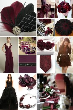 Black and Maroon Weddings. I think I'm in love with the color combo, add a little burlap and you have a rustic, fall wedding. :)