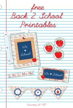Back to School Printables - Yesterday on Tuesday. #backtoschool #printable