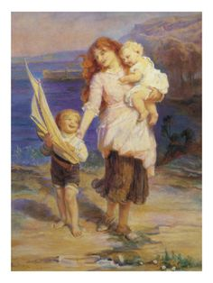 """""""A Day at the Seaside"""" by Frederick Morgan"""