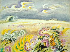 'Wind-Blown Asters' (1951) by American painter Charles E. Burchfield (1893-1967). Watercolor on paper, 30 x 40 in. via Burchfield Penney Art Center