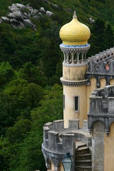 Moorish tower of Palacio Nacional de Pena in Sintra, a Magic Castle - Lisbon, Portugal