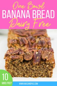 This dairy-free banana bread recipe is super moist! Made in one bowl with no dairy, this healthy and delicious banana bread loaf is sure to be a favourite snack. Get baking with this easy and moist dairy-free banana bread recipe! #dairyfree #dairyfreerecipe #bananabread #dairyfreebananabread #bananabreadrecipe Dairy Free Banana Bread, Healthy Banana Bread, Banana Bread Recipes, Banana Bread Ingredients, Gluten Free Rice, Sweet Desserts, Dairy Free Recipes, Nutritious Meals, Natural Flavors