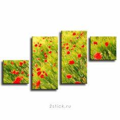 Модульная картина от 2stick.ru Маковое поле солнечным летним днем