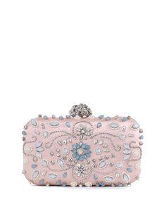 #AdoreWe #StyleWe Bags - RADISH Small Pink Beaded Satin Clasp Lock Evening Clutch - AdoreWe.net