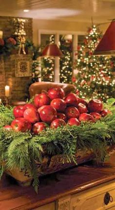 Red apples and fir for Christmas