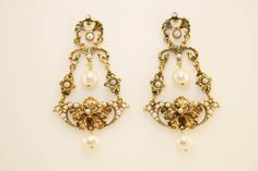 Rococo drop pearl earrings- For the Frill After Dark.
