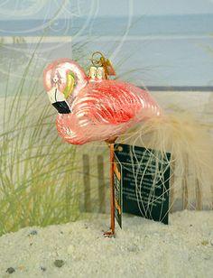 """Beach Sea Pink Flamingo Bird Noble Gem 4"""" Glass Christmas Ornament"""