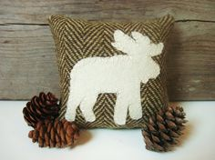 Decorative Pillows / Moose Pillow / Balsam Pillow / by AwayUpNorth