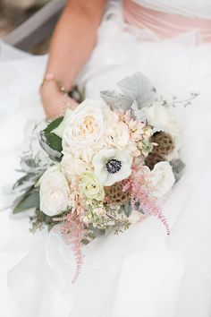 Stunning seasonal bouquet: http://www.stylemepretty.com/2014/11/13/rustic-wedding-in-the-catskills/ | Photography: Brigham & Co. - www.brighamandco.com