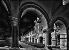 """""""Rice University Arches"""" by Norman Gabitzsch, Houston Photographer.  Photograph of Herzstein Hall through the Lovett Arches of Rice University in Houston, Texas was taken with a Nikon D810. This cloister beautifully decorated with gargoyles is a popular location for photography on the campus. #RiceUniversity #WallArt #BlackAndWhite #Art #Photography #FineArtAmerica #Houston #Gabitzsch"""