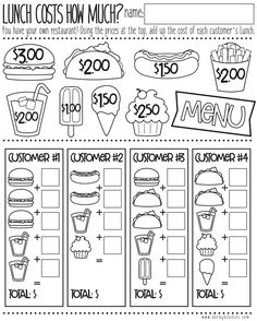 Money Math Practice - How Much Does Lunch Cost?