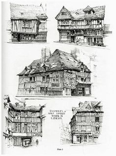 Samuel Chamberlain (1895-1975-American) - DARF - Plate 1.2 - Examples of half timber work in Lisieux - 1928 (variant)