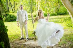 creek side ceremony area with rope swing at wolf oak acres exclusive venue in the countryside