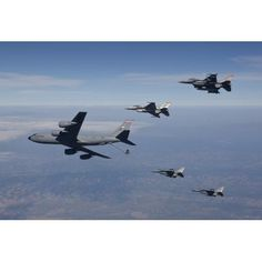 Four F-16s and a KC-135 fly in formation over Arizona Canvas Art - High-G ProductionsStocktrek Images (35 x 24)