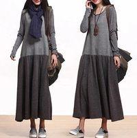 Dark gray Linen dress Cotton skirt Loose by prettyforest22