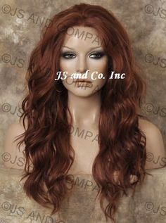 French Lace Front Wig Long and Wavy Heat Resistant Red Auburn 130 | eBay