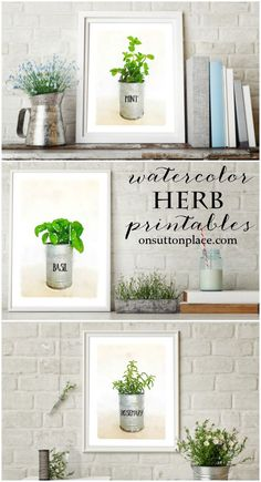 Watercolor Printables | Farmhouse Style Herb Pots | Free printables to make DIY wall art or use for screensavers, cards, crafts & more. Farmhouse decor | farmhouse wall art | farmhouse style printables.