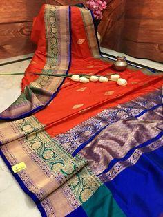 For online saree shopping in India or USA give us a call. South Silk Sarees, Indian Silk Sarees, Pure Silk Sarees, Banarsi Saree, Saree Gown, Handloom Saree, Wedding Saree Blouse Designs, Saree Wedding, Green Sari
