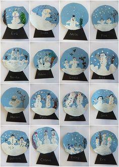 Vorschule Basteln Winter – Rebel Without Applause Christmas Art Projects, Winter Art Projects, Winter Crafts For Kids, Art For Kids, Kindergarten Art, Preschool Crafts, Snow Globe Crafts, Theme Noel, Art Classroom