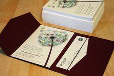 SAMPLE Blowing Dandelion Pocketfold Wedding by vohandmade on Etsy, $3.00
