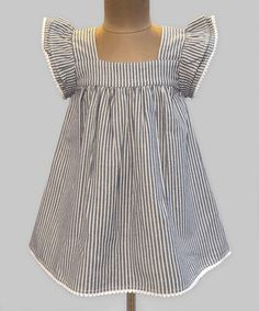 Chambray Stripe Angel-Sleeve Dress - Infant, Toddler & Girls