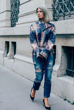 September 30, 2013  Tags Milan, Jeans, Plaid, Sarah Harris, Distressed, Céline