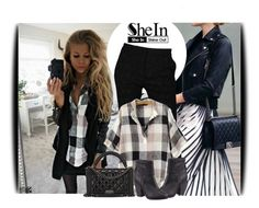"""Shein contest: Black Beige V Neck Preppy Appropriately Plaid Checkered Loose Blouse"" by amerlinakasumovic ❤ liked on Polyvore featuring Roberto Cavalli, rag & bone, Chanel, Sweater and shein"