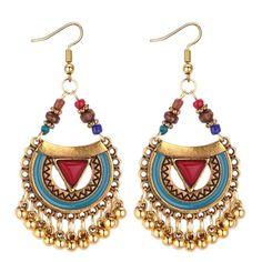 Vintage Ethnic Tibetan Bohemian Retro Metal Beads Tassel Drop Earrings Beaded Tassel Earrings, Women's Earrings, Beaded Jewelry, Wedding Earrings, Turkish Jewelry, Indian Jewelry, Ethnic Jewelry, Boho Jewelry, Folk