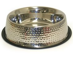 Embossed Hammered Finish Stainless Steel Dog Bowl $25.00