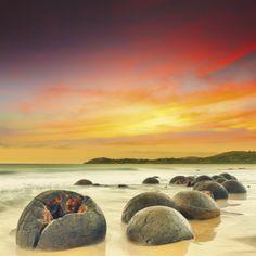 Moeraki Boulders in Nieuw-Zeeland