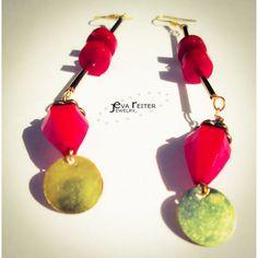 Red bohemian earrings