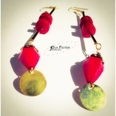 Red bohemian earrings