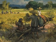 Fernando Amorsolo - Harvesting 1940 Landscape Art, Landscape Paintings, Filipino Art, Southeast Asian Arts, Sculpture Museum, Philippine Art, Philippines Culture, Vintage Artwork, Classical Art