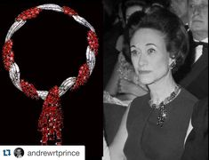 """#Repost @andrewrtprince ・・・ The Duchess of Windsor wearing her Cartier ruby starburst earrings and the superb ruby and diamond tassel twist necklace from Van Cleef & Arpels, after a design by Rene Sim Lacaze. It was a 40th birthday gift from the Duke, and he inscribed on the clasp """"My Wallis from her David,19.IV.1936"""". When it came up for auction in 1987, the style, thought to be a little later than the inscription caused some confusion. It was discovered that the original design, the…"""
