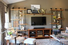 Jessie Miller Interior Designer DIY Industrial built-in shelves
