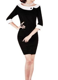 Purpura Erizo Womens Fitted Black Contrast Pencil Dress