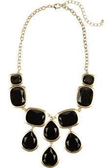 black embellished bib necklace by kenneth jay lane.
