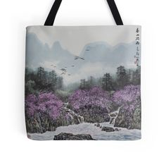 """""""Rain Comes to the Spring Hill"""" Tote Bags by aplcollections 