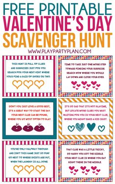 This Valentine's Day scavenger hunt for kids is perfect for activities for kids in preschool or even elementary school! Simply print out the printable cards, hides with treats, or other Valentine's Day surprises, and you have one of the best Valentine's D Kinder Valentines, Valentines Games, Valentine Gifts For Kids, Valentines Day Activities, Valentines Day Party, Kid Activities, Valentine Crafts, Valentine Ideas, Valentine Quote