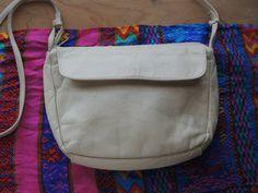 Vintage Leather Handbag// White Crossbody// White by altastyles, $29.00