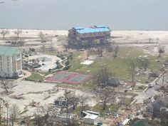 Casino picked up & placed in middle of road. Gulfport, MS Hurricane Katrina