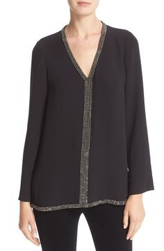 6a3db6561db8 Tory Burch Tory Burch  Mallet  Embellished V-Neck Silk Tunic available at