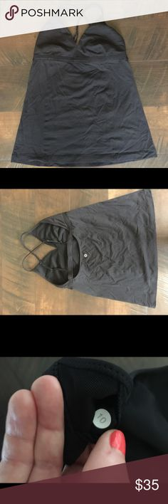 Lululemon Black Tank - size 10 Cute black tank.  Size 10.  EUC, no bra pads included.  Wrinkled from non use in my drawer, but clean and ready to go! lululemon athletica Tops Tank Tops
