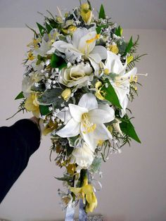 Artificial Wedding Bouquet Of Ivory Lillies And Yellow By Nozzeweddingflowersandfavourscouk