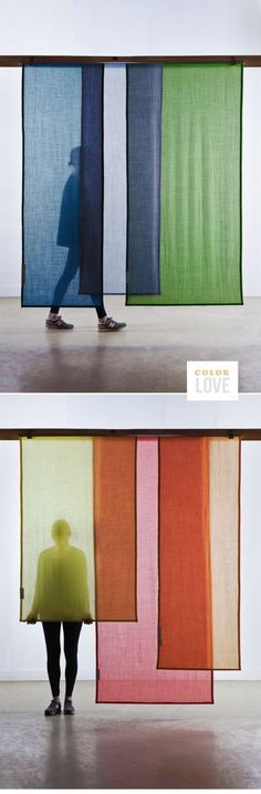 same idea could translate to a room divider. Ikea has window panels that would d… - Home Professional Decoration Bamboo Room Divider, Hanging Room Dividers, Space Dividers, Panel Room Divider, Ikea Room Divider, Divider Cabinet, Room Divider Curtain, Wall Dividers, Fabric Room Dividers