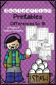 10 Subtraction Printables differences to 18.