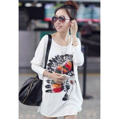 $8.47 Casual Style Loose-Fitting Scoop Neck tablita Print Dolman Sleeves Cotton Blend  T-Shirts For Women