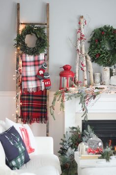 A few of these ideas are really great! Love the ladder here, for hanging colorful, plaid blankets. #farmhouse_holiday_decor