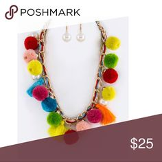 Pearl & PomPom Statement Necklace Set New New with tags, Faux pearl Jewelry Necklaces